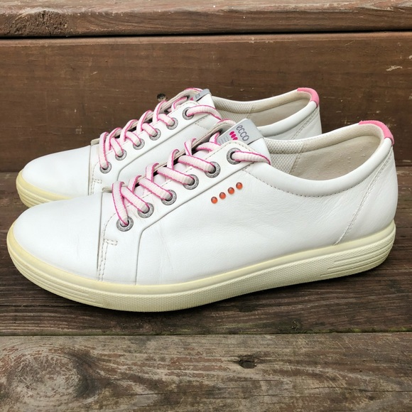 Ecco Spikeless Extra Width White Leather Golf Shoe